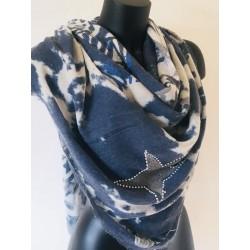 Echarpe étoile bleu jeans