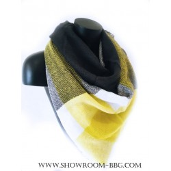 Echarpe triangle jaune  & gris