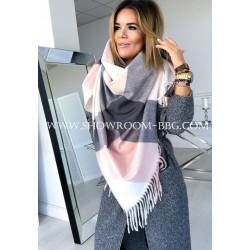 Maxi écharpe rose pâle & gris