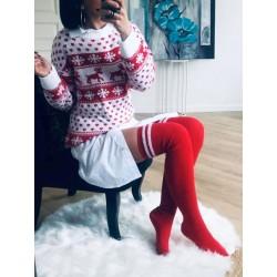 Chaussettes hautes blanc et rouge
