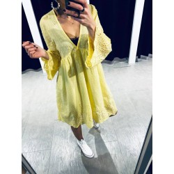 Robe broderie anglaise Jaune