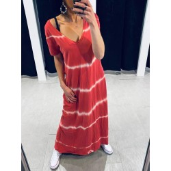 Robe longue Tie and dye rouge